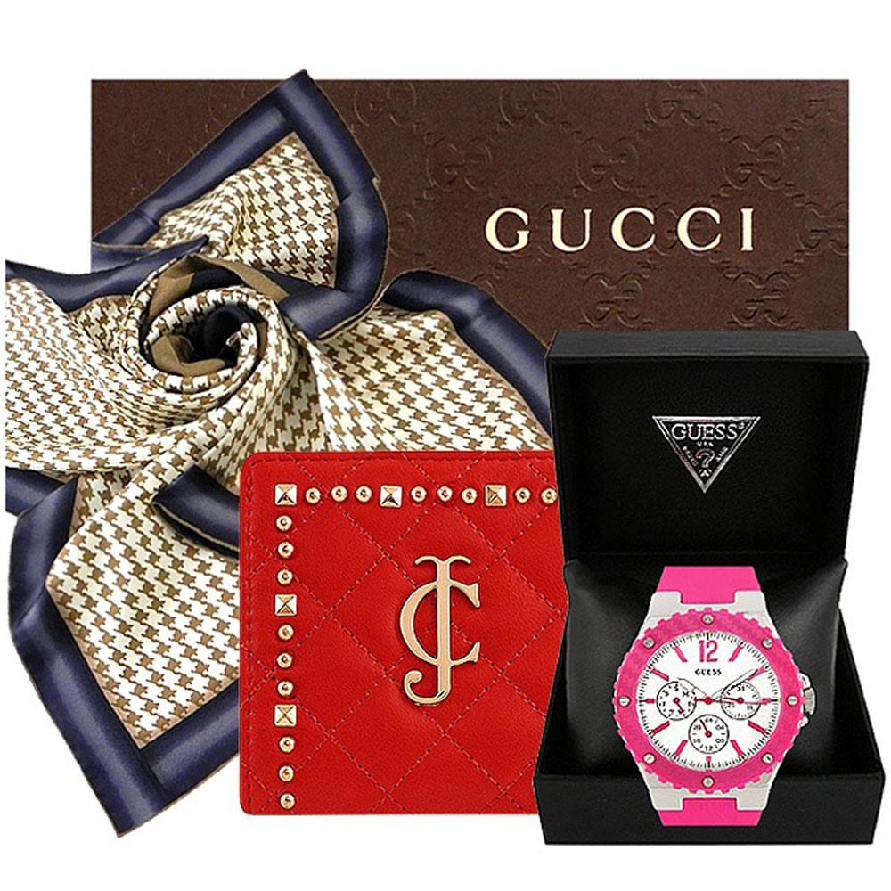 GUCCI 千鳥紋造型絲巾 GUESS 運動腕錶 JUICY COUTURE 紅色短夾