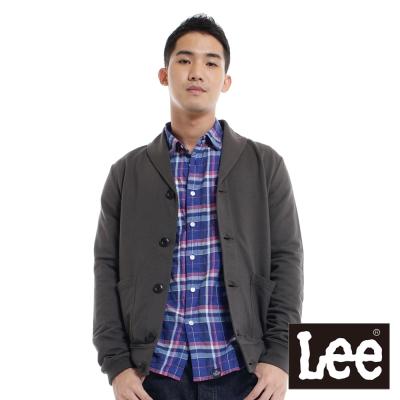 Lee-薄外套-前開扣素色針織絲瓜翻領-男款-棕灰