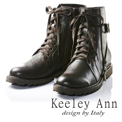Keeley Ann帥氣中性綁帶拉鍊真皮短靴(咖啡色)