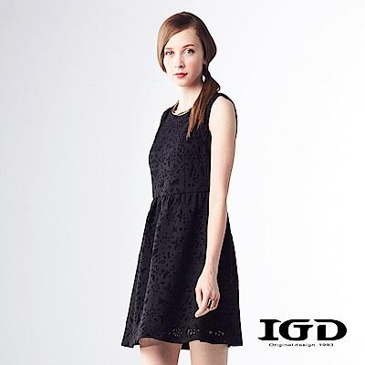 IGD英格麗 韓風浪漫蕾絲無袖洋裝-黑色