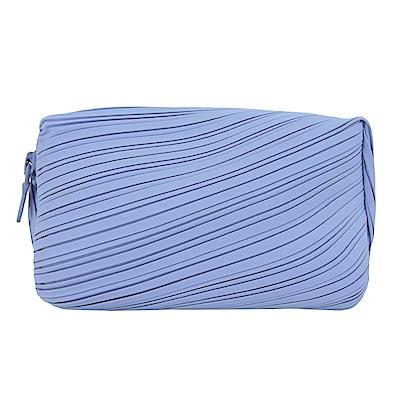 ISSEY MIYAKE 三宅一生 PP寬版褶紋化妝包(紫藍)