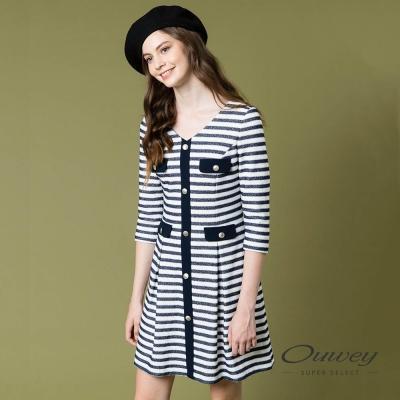 OUWEY歐薇 優雅鑲蔥條紋洋裝(藍)