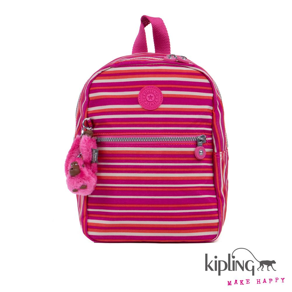 Kipling後背包粉橘螢光條紋