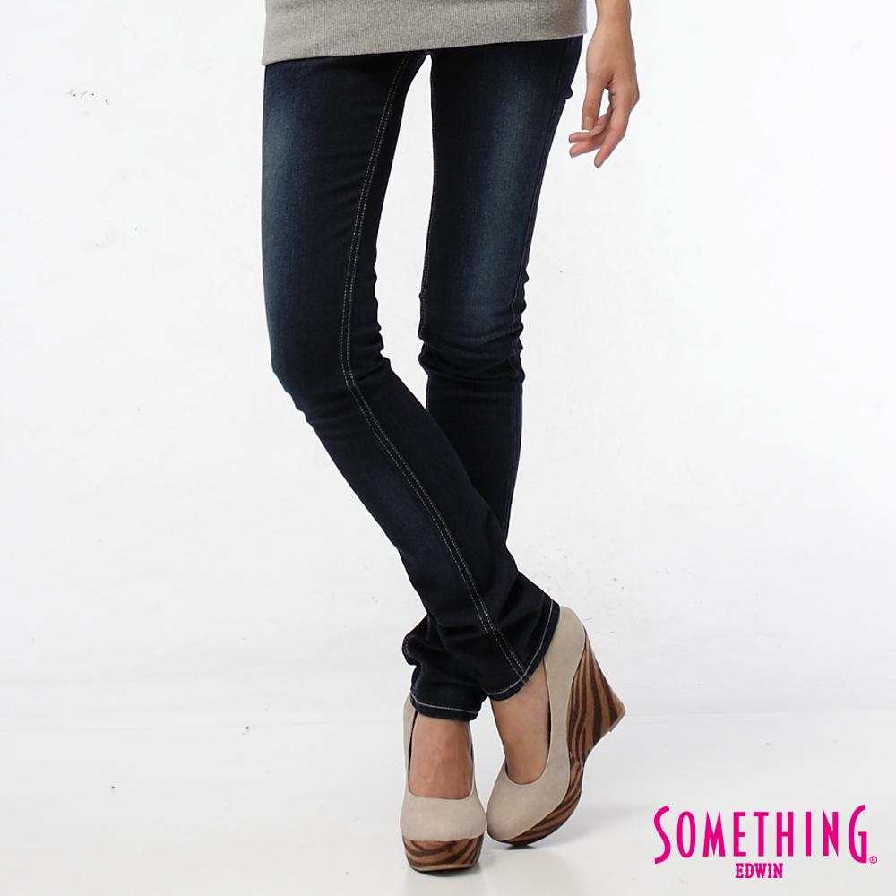 SOMETHING時間之河 拉鍊蕾絲伸縮窄直筒牛仔褲-女款-原藍磨