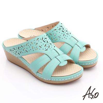 A.S.O 輕變鞋 全真皮鏤空楔型氣墊涼鞋 淺綠色