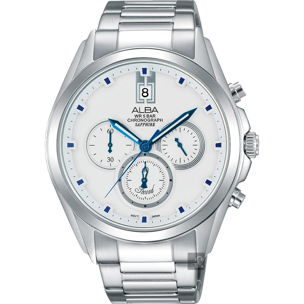 ALBA 東京日系三眼計時腕錶(AT3B09X1)-銀/42mm