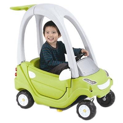 寶貝樂 豪華嘟嘟造型學步車附踏板及控制桿-綠色