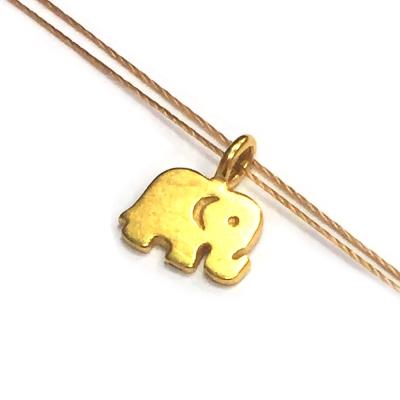 Dogeared 大象 ELEPHANT 好運健康 金墜金色棉繩 許願項鍊