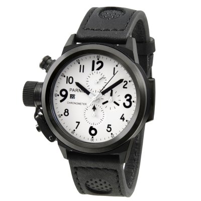 PARNIS大錶徑/黑旋風/多功能/計時腕錶/左手錶/PA5004-D/50mm/石英錶