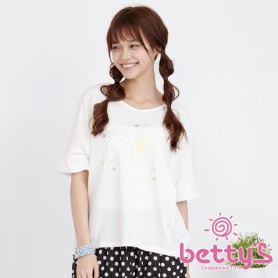 betty's貝蒂思 寬鬆插畫落肩棉質T-shirt(米白)