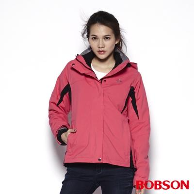 BOBSON 女款功能性兩件式外套(桃紅10)