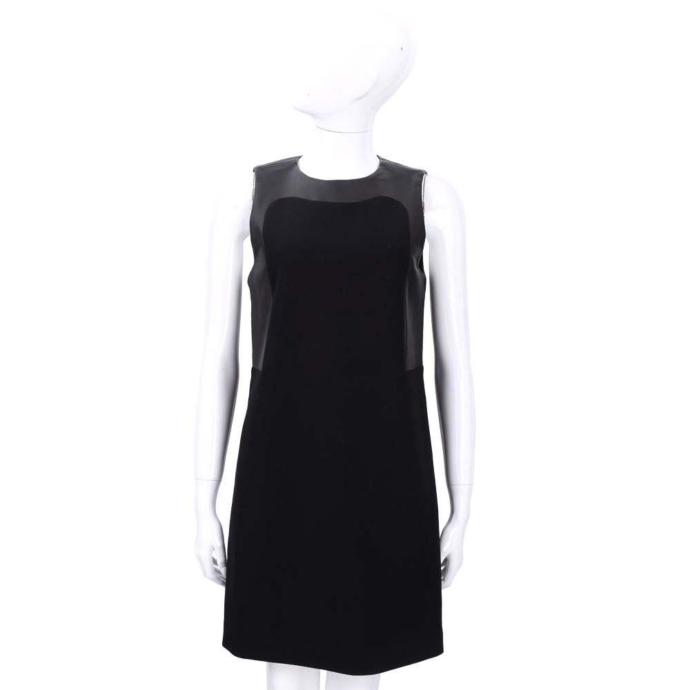 MICHAEL KORS 黑色拼接羊皮無袖洋裝