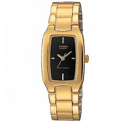 CASIO 清新時尚酒桶型指針腕錶(LTP-1165N-1C) 黑X金/22mm