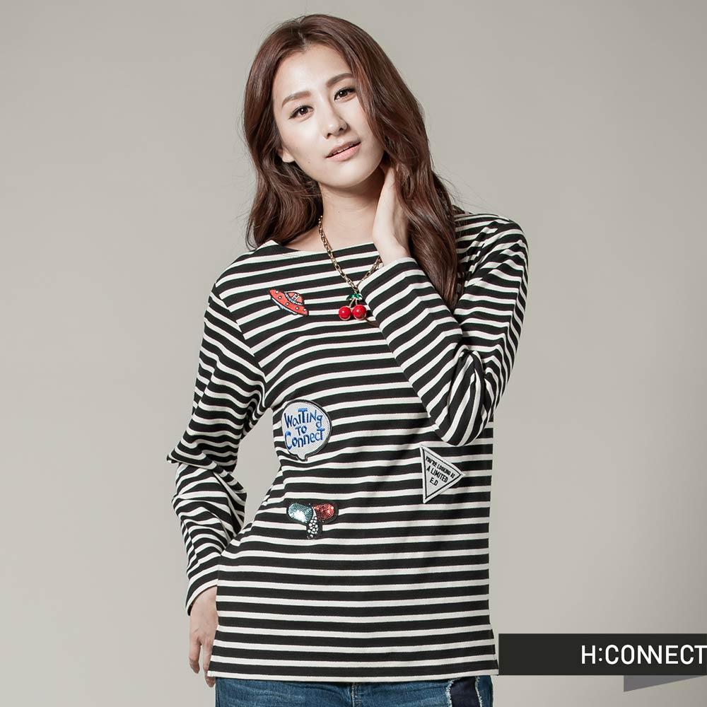 H:CONNECT 韓國品牌 女裝-CONNECT塗鴉條紋上衣 -黑 (快)