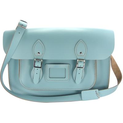 The Leather Satchel 英國手工牛皮劍橋包 肩背 側背包 寶貝藍 14吋