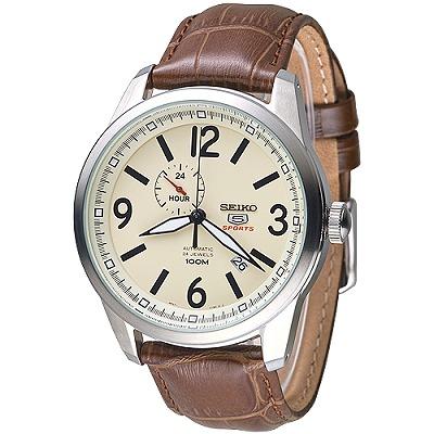 SEIKO 日製紳士5號24石自動機械錶(SSA295J1)-米黃/43mm