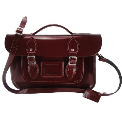 The Leather Satchel 英國手工牛皮劍橋包 肩背手提包 浪漫紅 12.5吋