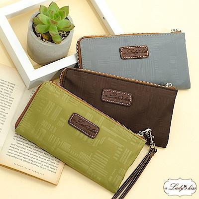 a Lady 's真皮 幾何風格壓紋拉鍊手機長夾包(3色)