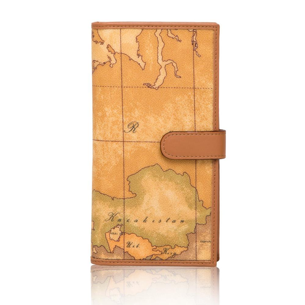 Alviero Martini 義大利地圖包 簡約扣式8卡長夾-地圖黃
