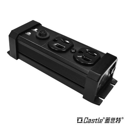 Castle 蓋世特 防火防雷電源突波保護插座-2座3孔(黑)