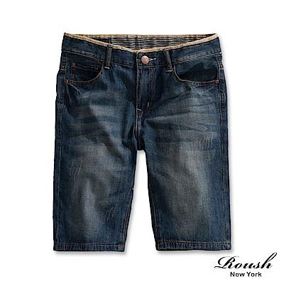 Roush 弧形車線水洗牛仔短褲
