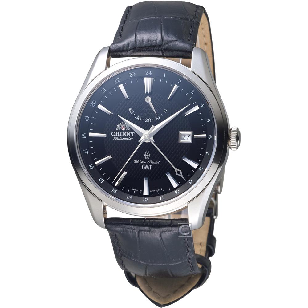 ORIENT 東方錶 GMT系列 雙時區機械錶(SDJ05002B)黑/42mm