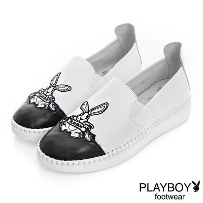 PLAYBOY 流行規則 黑白配色兔子樂福鞋-白(女)