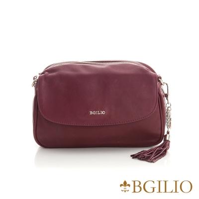 義大利BGilio-義大利水洗羊皮魅力肩背包-棗紅色 2281.001-01