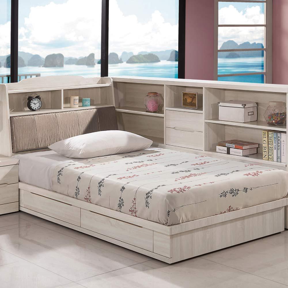 品家居 比利時3.5尺單人收納床台組合(不含床墊&床邊櫃)-106x212x107cm免組