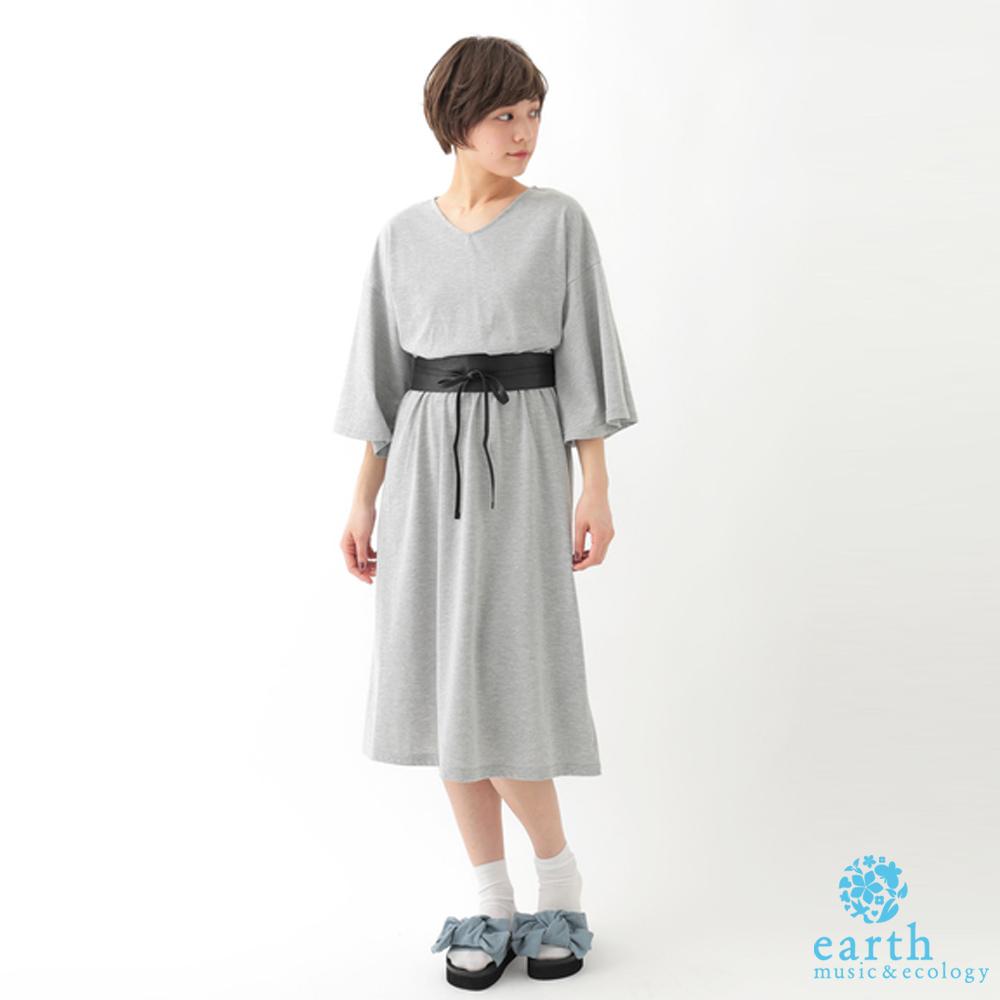 earth music  V領鬆緊腰際寬袖長洋裝-附腰帶