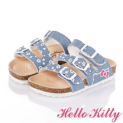 HelloKitty 牛仔布系列 舒適減壓吸震休閒拖鞋童鞋-水藍