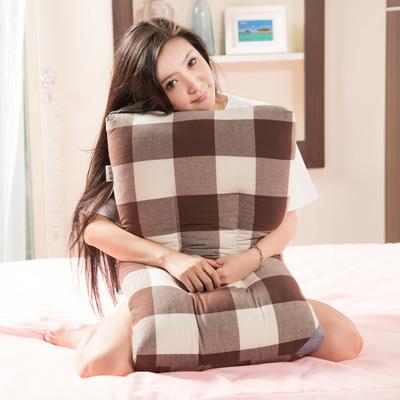 原色布屋 大格紋 純棉健康護頸止鼾水洗枕2入(4色可選)