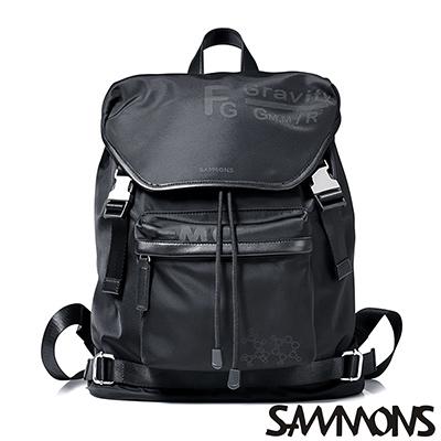 SAMMONS 奧古斯特尼龍休閒後背包 個性黑