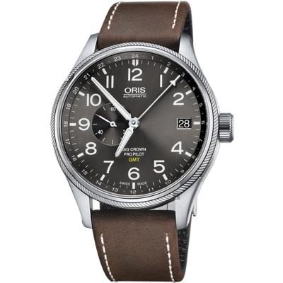 ORIS豪利時 Big Crown ProPilot GMT小秒針飛行錶-灰/45mm