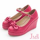 JMS-俏皮雙層蝴蝶結楔型娃娃鞋-紅