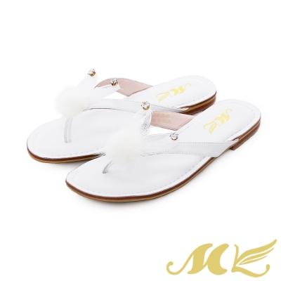 MK-夢幻森林-小兔子水鑽絨毛平底人字拖鞋-白色