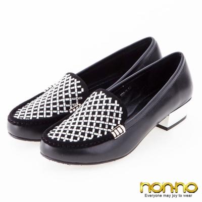 nonno-低調時尚-方鑽鏡面粗低跟鞋-黑