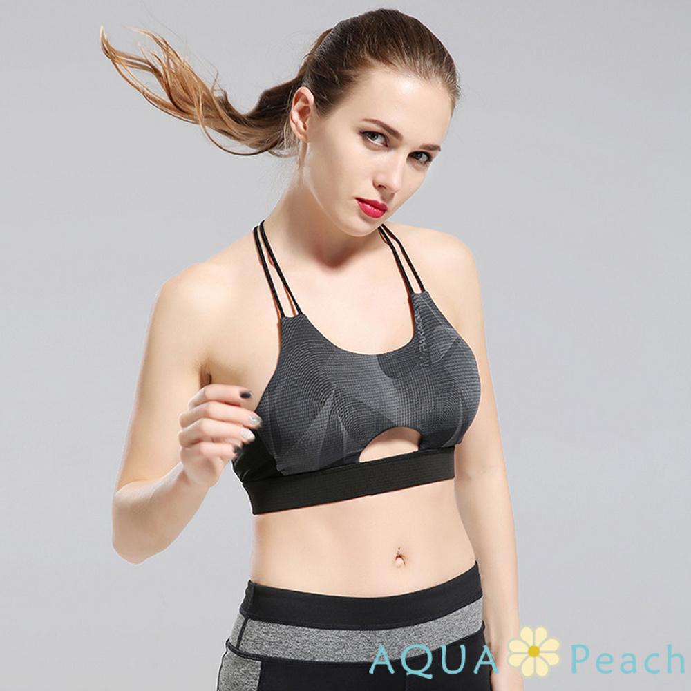 運動內衣 前縷空工字線條露背背心 (幾何)-AQUA Peach