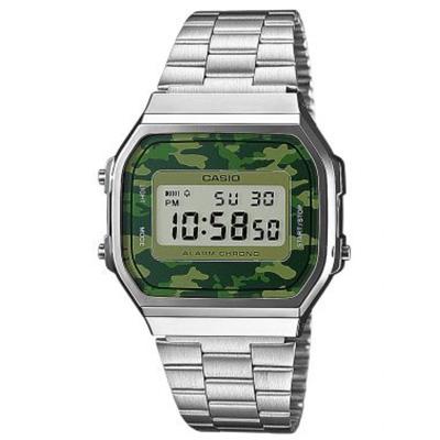CASIO 經典時尚城市迷彩數位錶(A-168WEC-3)-迷彩綠/36.3mm