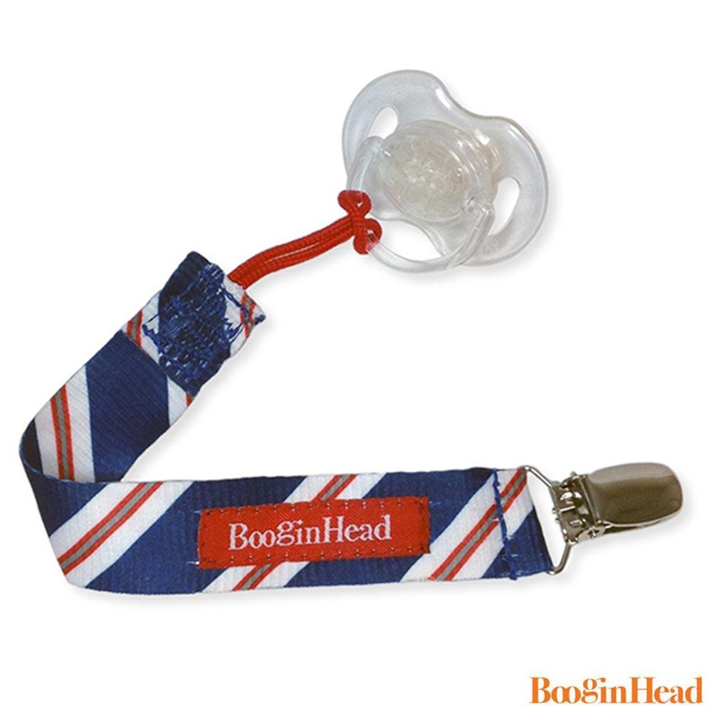BooginHead 美國  藍紅斜條紋款 奶嘴夾