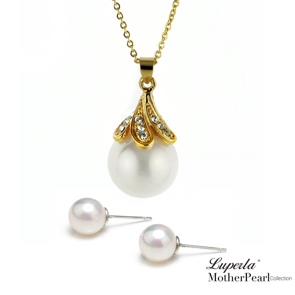 大東山珠寶 歐巴馬系列南洋貝寶珠墬飾耳環套組 華麗金