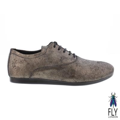 Fly London(女) 仿舊刷皮牛津皮鞋 - 銅