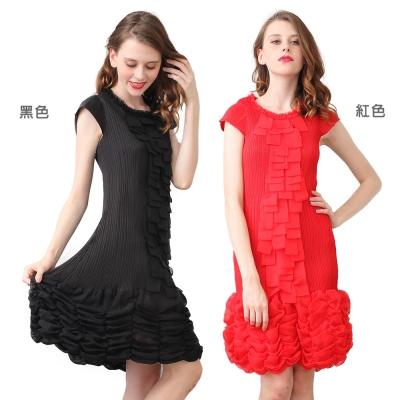 時尚花邊圓領短袖繡球花裙壓摺洋裝-(共二色)-玩美衣櫃