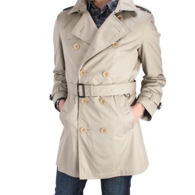 BURBERRY-紳士棉質長版風衣外套-卡其色