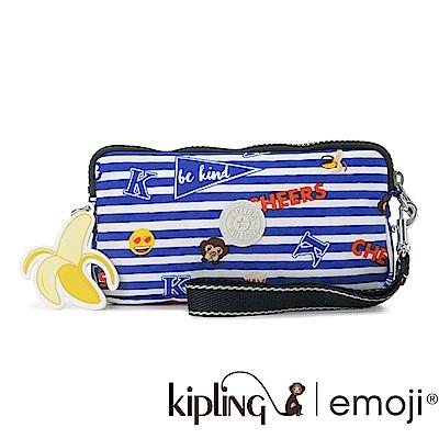 Kipling Emoji系列 掛繩手拿包 香蕉吊飾 條紋圖案-小