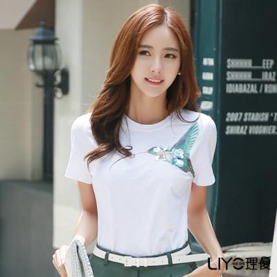 LIYO理優圓領印花T恤(白)