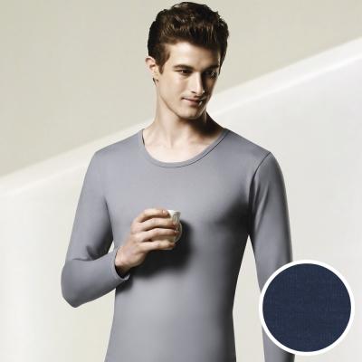 DADADO EKS保濕 素面M-LL U領長袖保暖衣上衣(深藍)