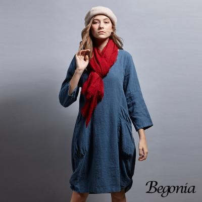 Begonia 圓領大口袋抓皺苧麻洋裝(共兩色)