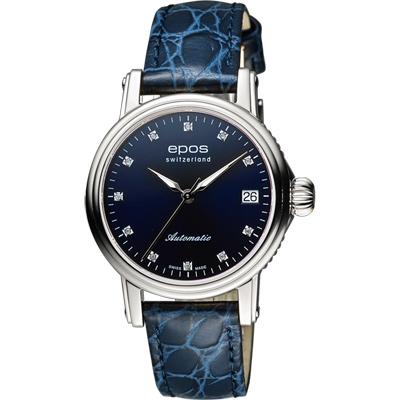 EPOS 都會雅緻時尚真鑽機械女錶-藍/34mm