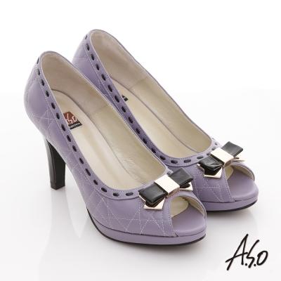 A.S.O 玩美彈麗II 全真皮壓紋金屬蝴蝶魚口跟鞋 紫